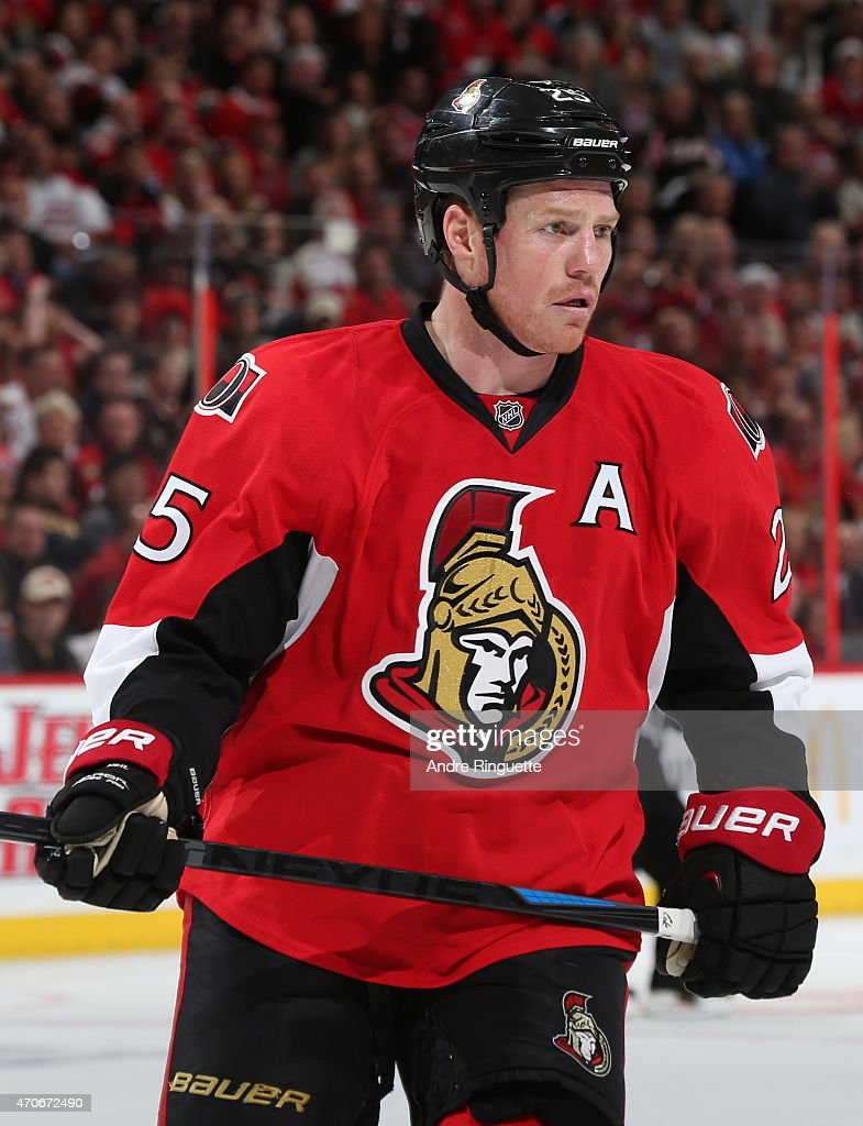 Chris Neil of the Ottawa Senators skates against the Montreal Canadiens in Game Three of the Eastern Conference Quarterfinals during the 2015 NHL...