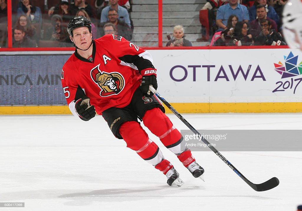 Chris Neil of the Ottawa Senators skates against the New York Islanders at Canadian Tire Centre on December 5 2015 in Ottawa Ontario Canada