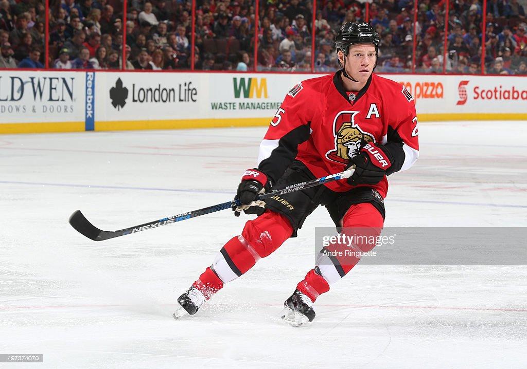 Chris Neil of the Ottawa Senators skates against the New York Rangers at Canadian Tire Centre on November 14 2015 in Ottawa Ontario Canada