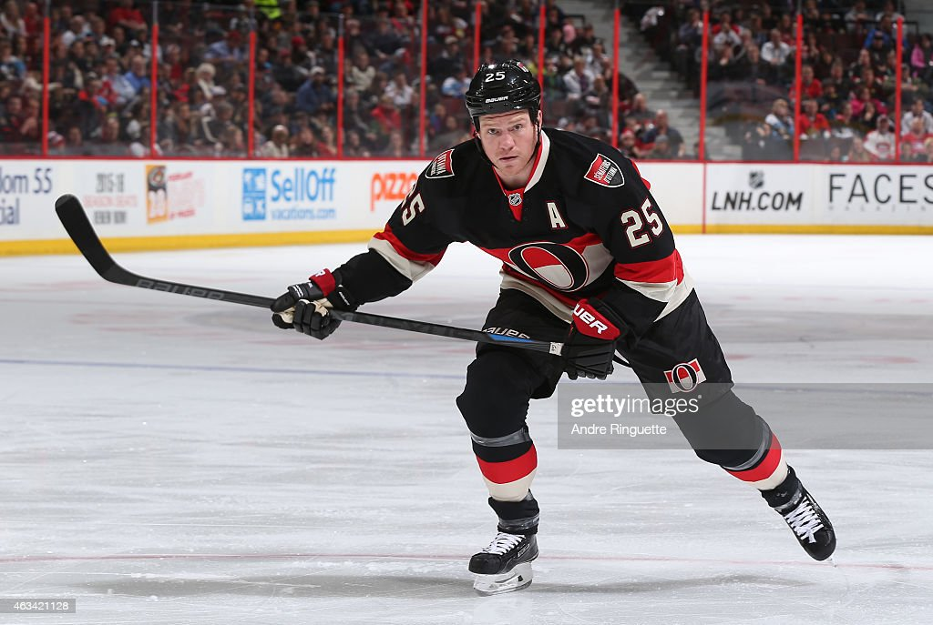 Chris Neil of the Ottawa Senators skates against the Pittsburgh Penguins at Canadian Tire Centre on February 12 2015 in Ottawa Ontario Canada