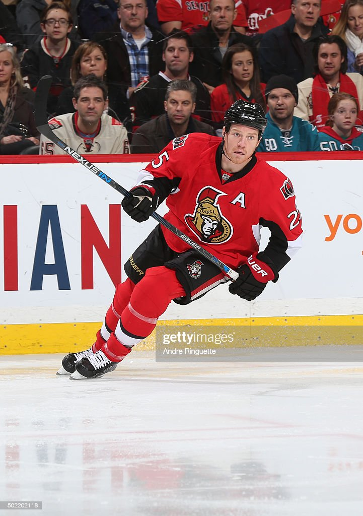 Chris Neil of the Ottawa Senators skates against the San Jose Sharks at Canadian Tire Centre on December 18 2015 in Ottawa Ontario Canada