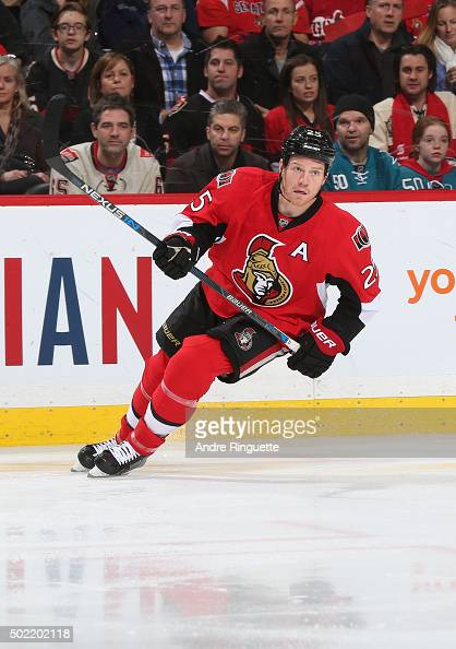 Chris Neil of the Ottawa Senators skates against the San Jose Sharks at Canadian Tire Centre on December 18 2015 in Ottawa Ontario Canada