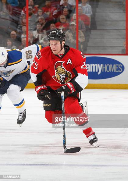 Chris Neil of the Ottawa Senators skates against the St Louis Blues at Canadian Tire Centre on March 1 2016 in Ottawa Ontario Canada