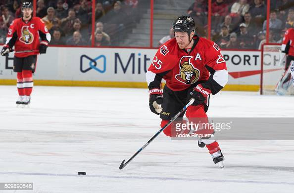 Chris Neil of the Ottawa Senators skates against the Tampa Bay Lightning at Canadian Tire Centre on February 8 2016 in Ottawa Ontario Canada