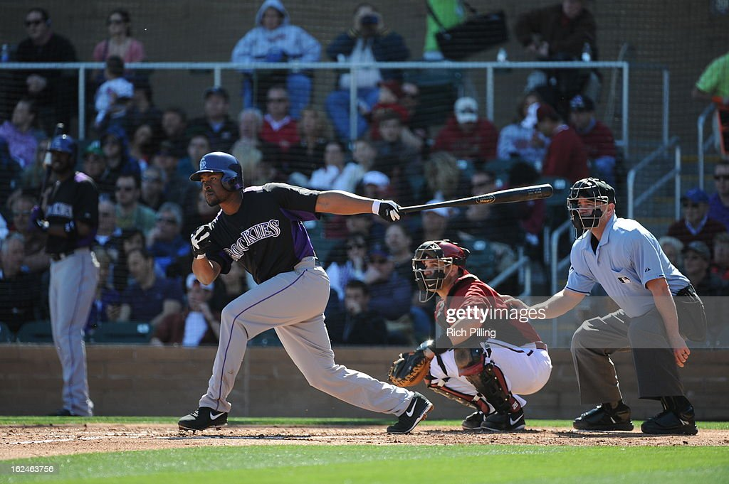 Chris Nelson #4 of the Colorado Rockies bats during the game against the Arizona Diamondbacks on February 23, 2013 at the Salt River Fields at Talking Stick in Scottsdale, Arizona. The Rockies defeated the Diamondbacks 11-2.