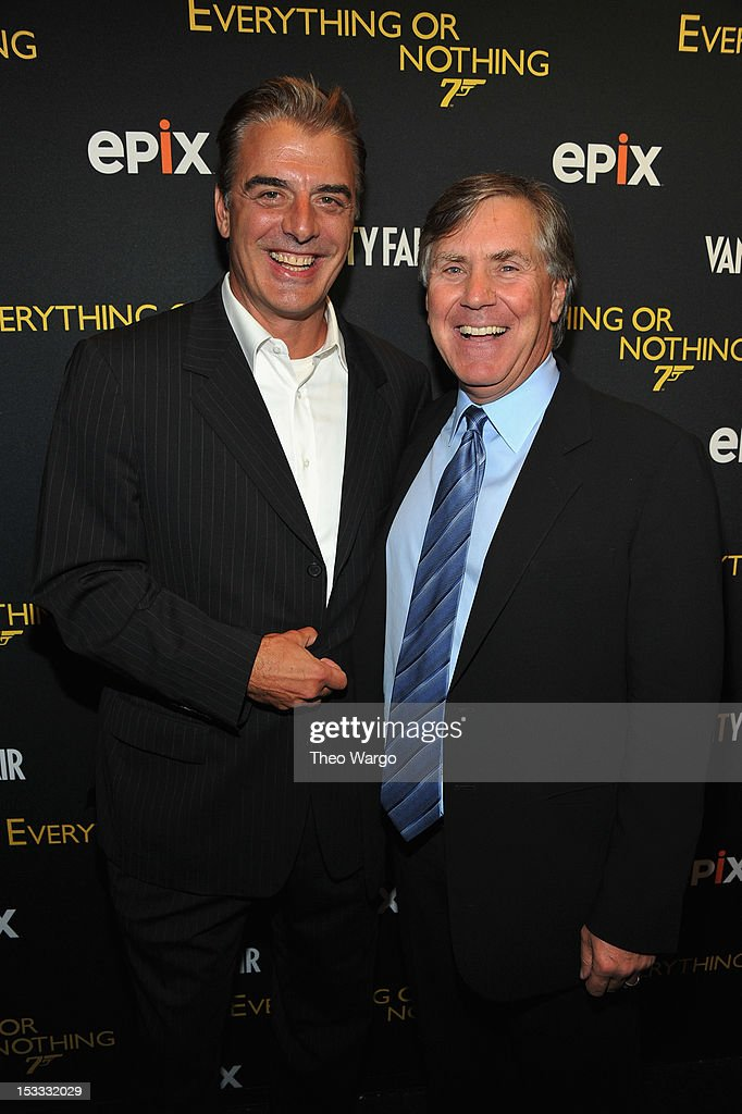 <a gi-track='captionPersonalityLinkClicked' href=/galleries/search?phrase=Chris+Noth&family=editorial&specificpeople=206568 ng-click='$event.stopPropagation()'>Chris Noth</a> and EPIX CEO Mark Greenberg attend EPIX Presents the Premiere screening of 'Everything or Nothing: The Untold Story of 007' at MOMA on October 3, 2012 in New York City.