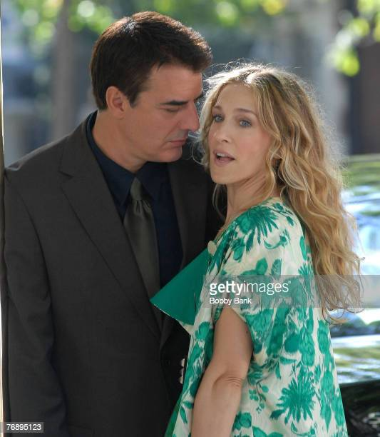 Chris Noth and Sarah Jessica Parker act on Location for Sex and The City The Movie on Fifth Avenue's Museum Mile New York City September 19 2007