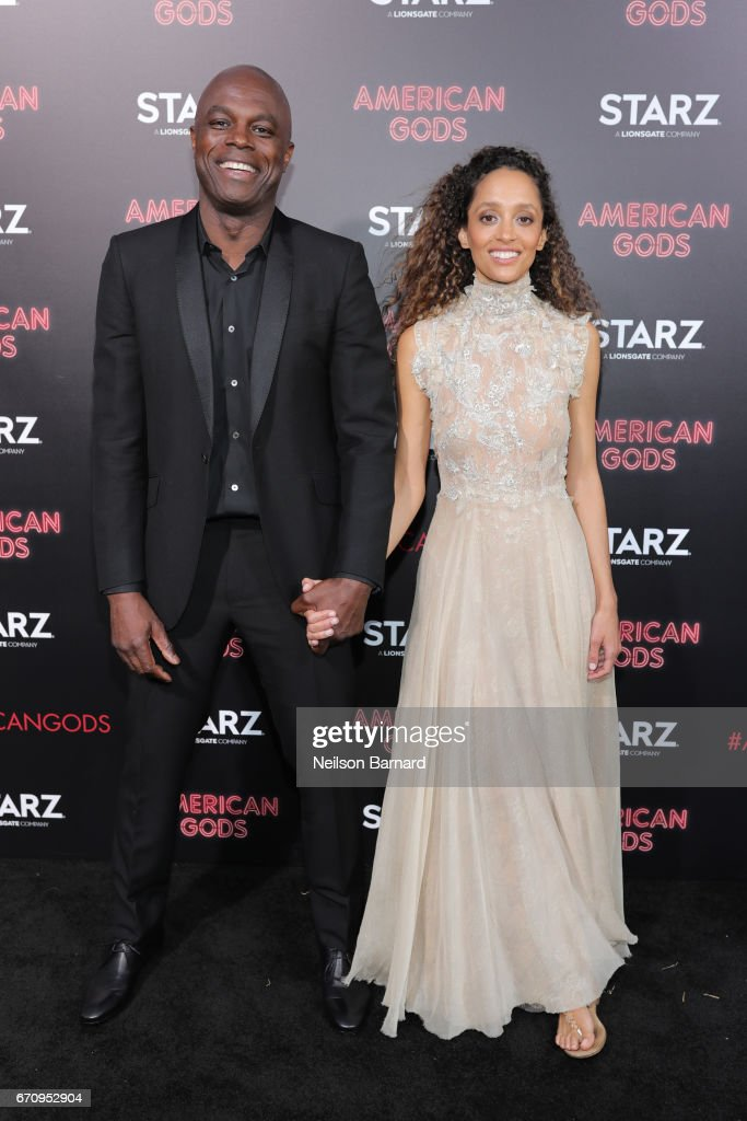 Chris Obi (L) attends the premiere of Starz's 'American Gods' at the ArcLight Cinemas Cinerama Dome on April 20, 2017 in Hollywood, California.