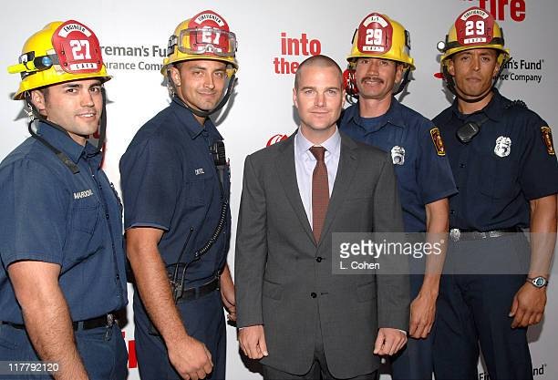 Chris O'Donnell and Firefighters during Chris O'Donnell and Fireman's Fund Insurance Company Host World Premiere of 'Into The Fire' at The Directors...