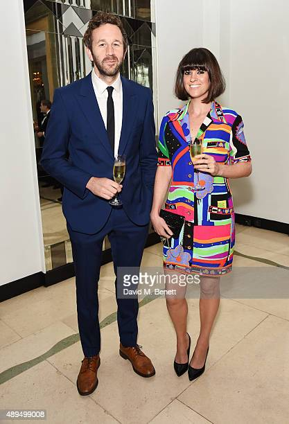 Chris O'Dowd and Dawn O'Porter attend the WilliamVintage private dinner in partnership with American Express at Claridge's Hotel on September 21 2015...