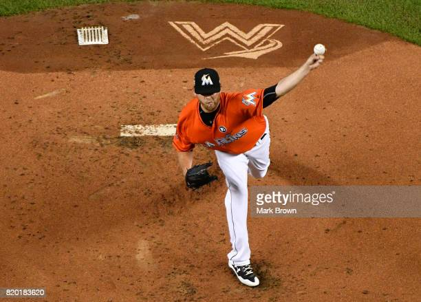 Chris O'Grady of the Miami Marlins in action during the game between the Miami Marlins and the Los Angeles Dodgers at Marlins Park on July 16 2017 in...