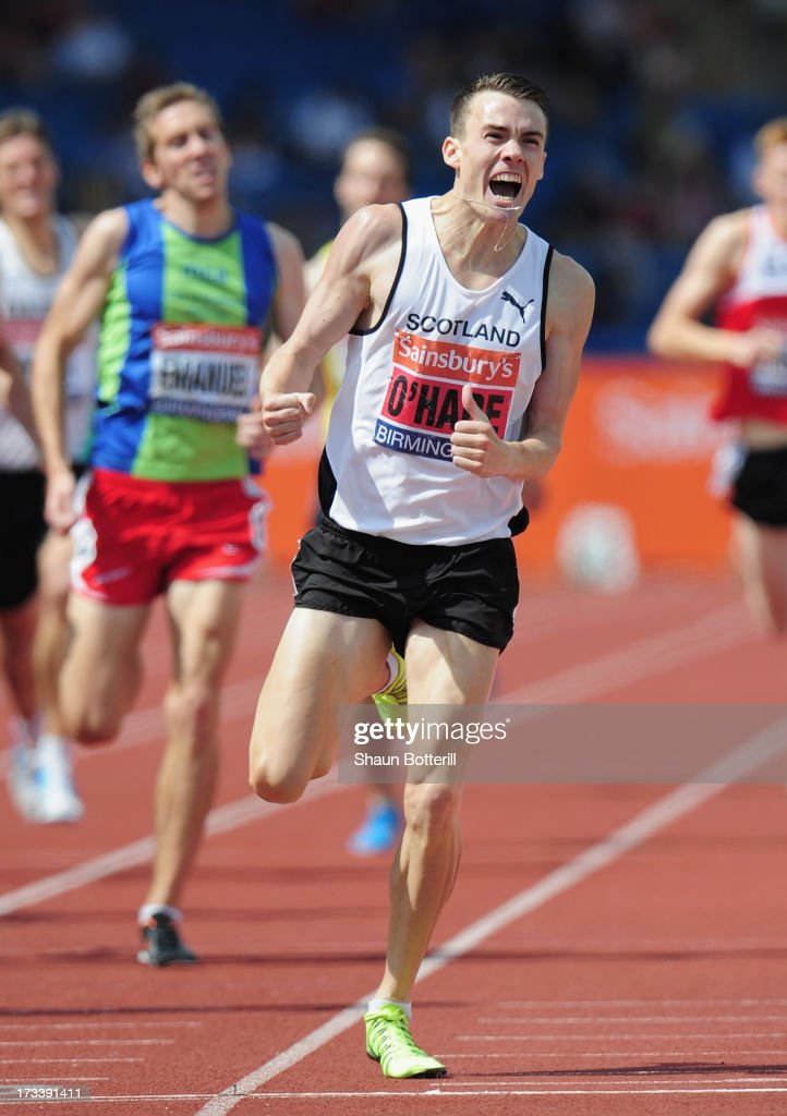 Chris O'Hare of Edinburgh wins the Men's 1500 Metres during the Sainsbury's British Athletics World Trials and UK & England Championships at Birmingham Alexander Palace on July 13, 2013 in Birmingham, England.