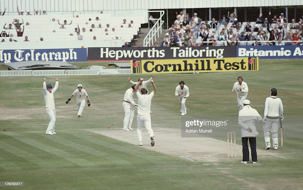 Chris Old of England bowls out Allan Border of Australia during the 2nd innings of the Third Ashes Test between England and Australia on 21st July...