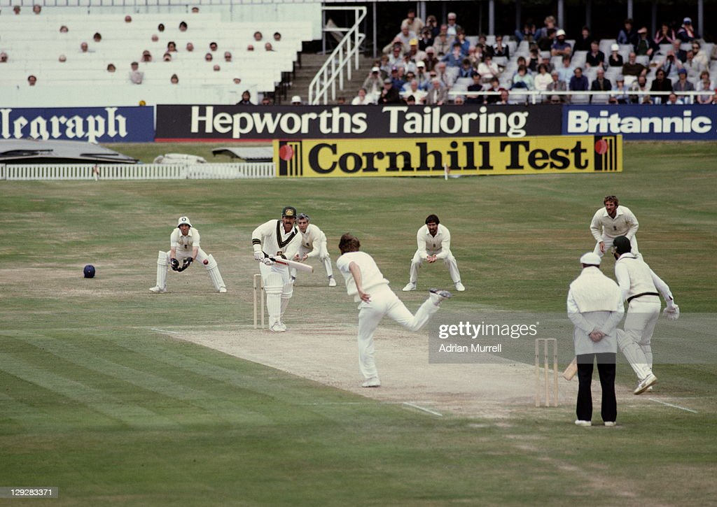 Chris Old of England bowls to Rodney Marsh of Australia during the 2nd innings of the Third Ashes Test between England and Australia on 21st July...
