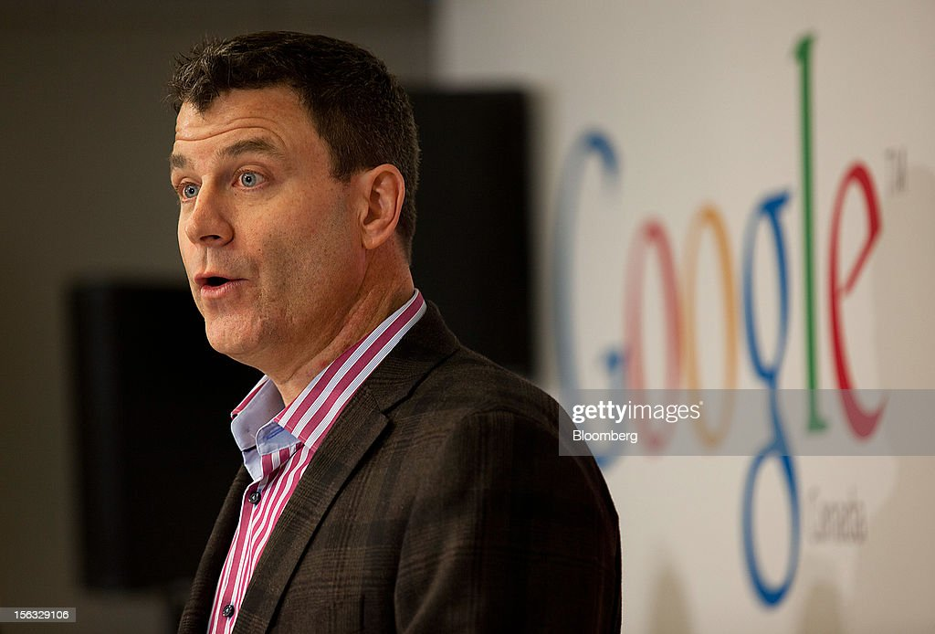 Chris O'Neil, managing director of Google Inc. Canada, speaks to the press during a media tour for the grand opening of Google Inc.'s new office in Toronto, Ontario, Canada, on Tuesday, Nov. 13, 2012. The office space encompasses five color-coded floors and features amenities such as a pool table, video games, mini-golf putting greens and a camping lounge where employees can hold meetings in a tent. Photographer: Brett Gunlock/Bloomberg via Getty Images