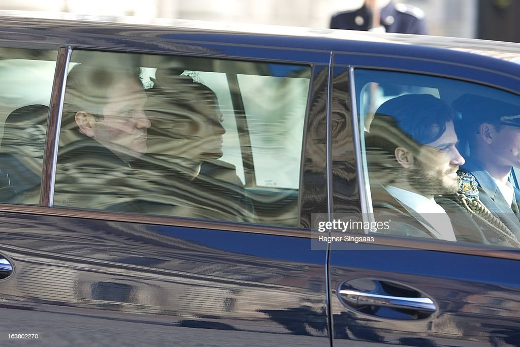 Chris O'Neill, Princess Madeleine of Sweden and Prince Carl Philip of Sweden attend the funeral of Princess Lilian Of Sweden on March 16, 2013 in Stockholm, Sweden.