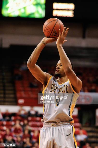 Chris Ortiz of the Kent State Golden Flashes takes a shot over the Nebraska Cornhuskers during their game at The Devaney Center on November 24 2012...