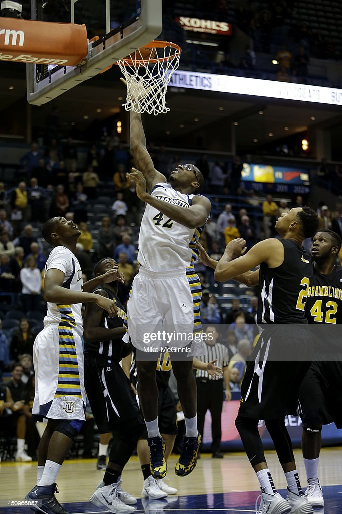Chris Otule #42 of the Marquette Golden Eagles drives to the hoop during the game against the Grambling State Tigers at BMO Harris Bradley Center on November 12, 2013 in Madison, Wisconsin.
