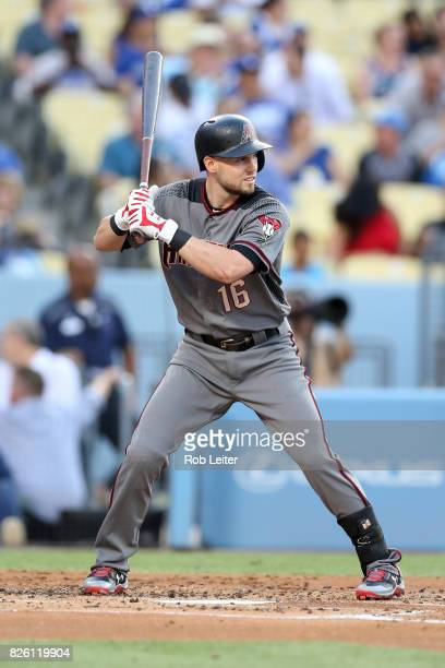 Chris Owings of the Arizona Diamondbacks bats during the game against the Los Angeles Dodgers at Dodger Stadium on July 6 2017 in Los Angeles...
