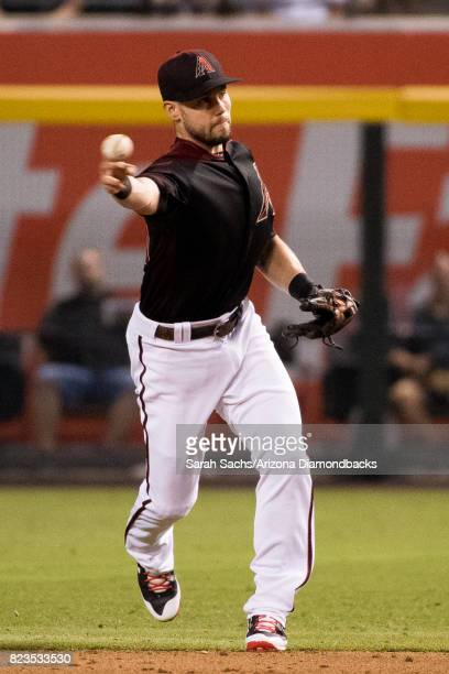 Chris Owings of the Arizona Diamondbacks fields the ball during a game against the Washington Nationals at Chase Field on July 22 2017 in Phoenix...