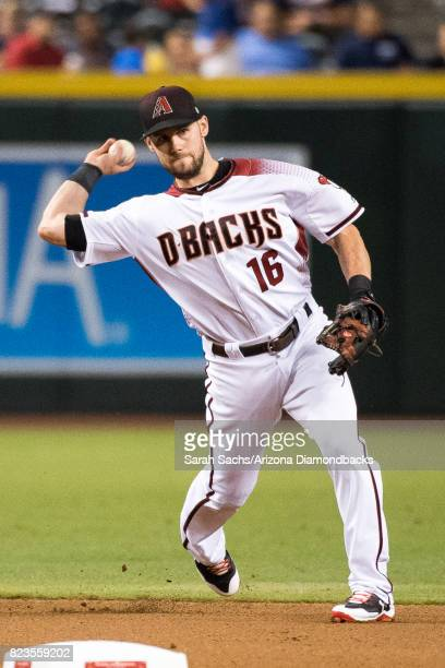 Chris Owings of the Arizona Diamondbacks fields the ball during a game against the Atlanta Braves at Chase Field on July 24 2017 in Phoenix Arizona