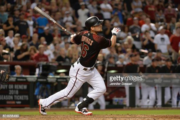 Chris Owings of the Arizona Diamondbacks flies out against the Washington Nationals at Chase Field on July 22 2017 in Phoenix Arizona