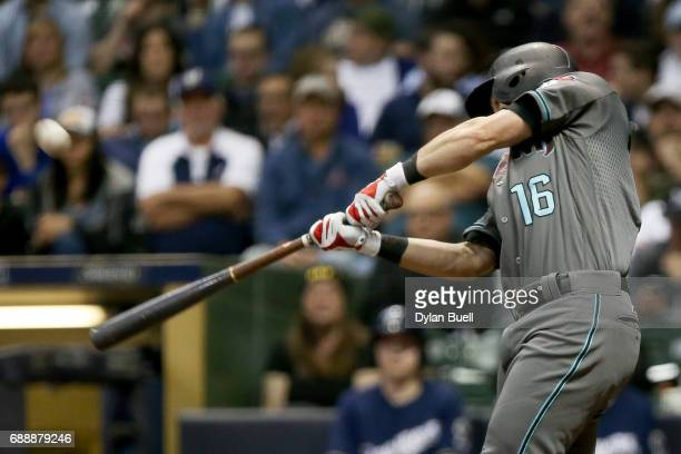 Chris Owings of the Arizona Diamondbacks flies out in the sixth inning against the Milwaukee Brewers at Miller Park on May 25 2017 in Milwaukee...