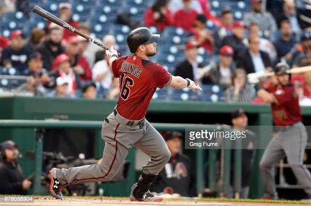 Chris Owings of the Arizona Diamondbacks hits a home run in the first inning against the Washington Nationals at Nationals Park on May 3 2017 in...