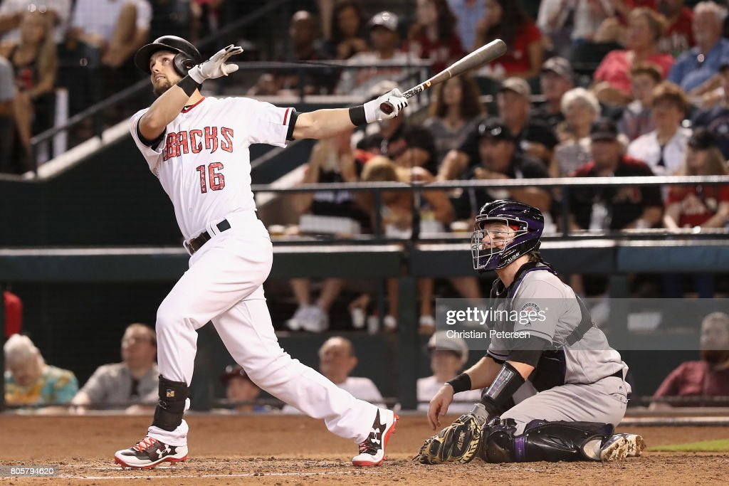 Chris Owings #16 of the Arizona Diamondbacks hits a two run home run against the Colorado Rockies during the fourth inning of the MLB game at Chase Field on July 2, 2017 in Phoenix, Arizona. The Diamondbacks defeated the Rockies 4-3.