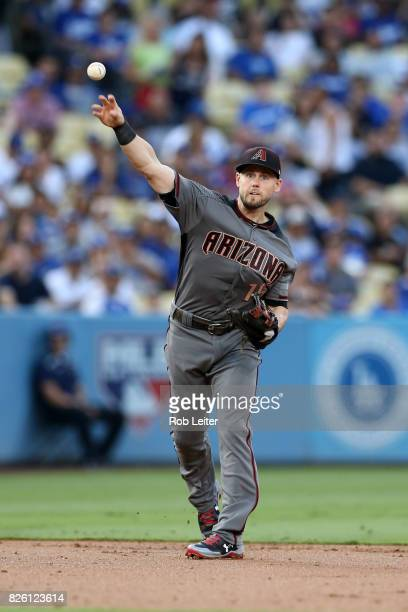 Chris Owings of the Arizona Diamondbacks plays shortstop during the game against the Los Angeles Dodgers at Dodger Stadium on July 6 2017 in Los...