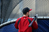 Chris Owings of the Arizona Diamondbacks waits for his turn in the batting cage during batting practice prior to the MLB game against the Los Angeles...