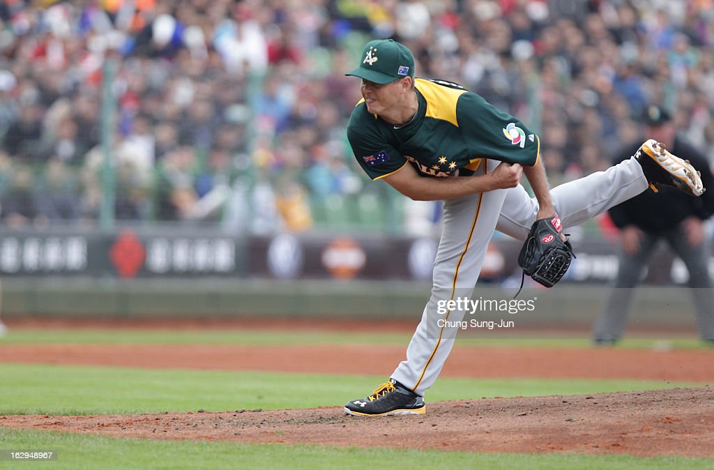 Chris Oxspring of Australia pitchs in the first inning during the World Baseball Classic First Round Group B match between Australia and Chinese Taipei at Intercontinental Baseball Stadium on March 2, 2013 in Taichung, Taiwan.