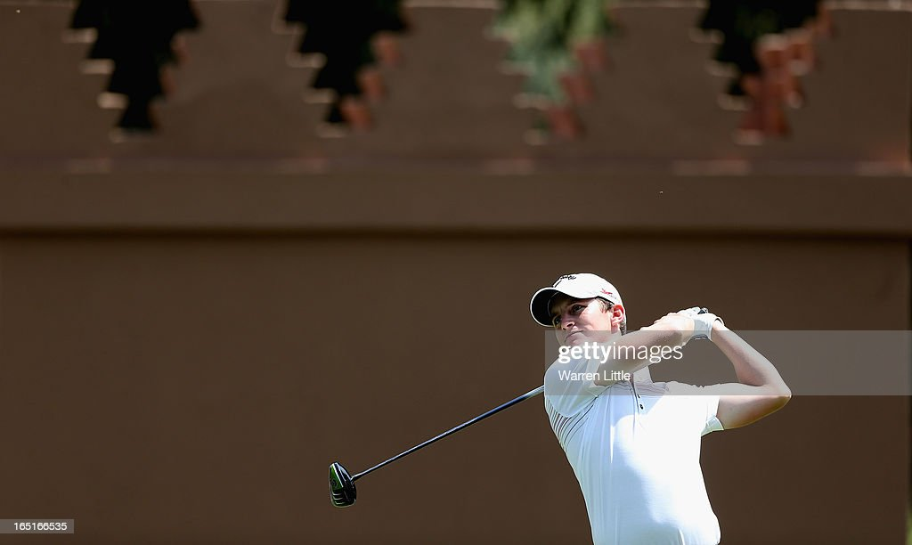 Chris Paisley of England tees off on the 10th hole during the final round of the Trophee du Hassan II Golf at Golf du Palais Royal on March 31, 2013 in Agadir, Morocco.