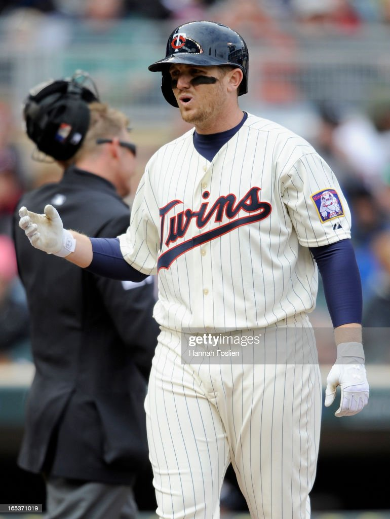 Chris Parmelee #27 of the Minnesota Twins reacts to a strike out during the fourth inning of the game against the Detroit Tigers on April 3, 2013 at Target Field in Minneapolis, Minnesota.
