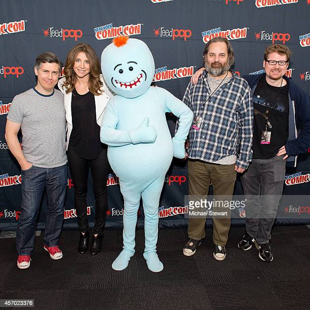Chris Parnell Sarah Chalke Dan Harmon and Justin Roiland attend Adult Swim's 'Rick and Morty' press room during 2014 New York Comic Con Day 2 at...