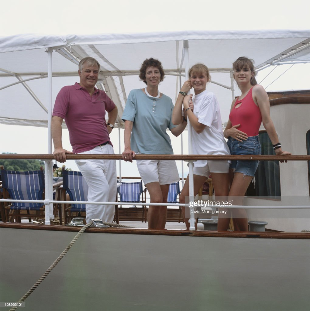 Chris Patten, the new Governor of Hong Kong, with his wife Lavender and daughters Alice and Laura in Hong Kong, 1st August 1992.