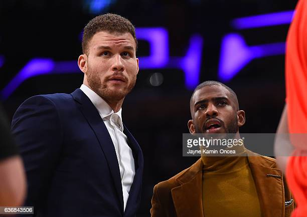 Chris Paul and Blake Griffin during a time out in the game against the Los Angeles Lakers at Staples Center on December 25 2016 in Los Angeles...