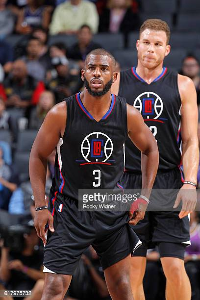 Chris Paul and Blake Griffin of the LA Clippers face off against the Sacramento Kings on October 18 2016 at Golden 1 Center in Sacramento California...