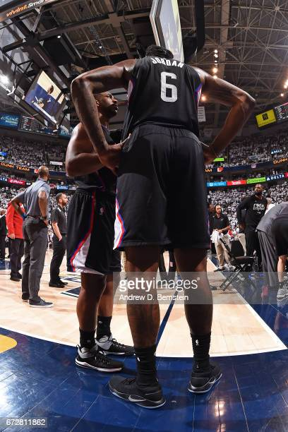Chris Paul and DeAndre Jordan of the LA Clippers talk during Game Three of the Western Conference Quarterfinals against the Utah Jazz of the 2017 NBA...
