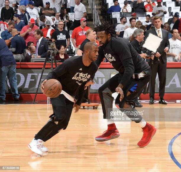Chris Paul and DeAndre Jordan of the LA Clippers warms up before the game against the Utah Jazz in Game Five of the Western Conference Quarterfinals...