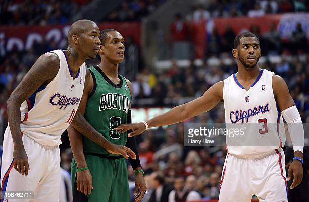 Chris Paul and Jamal Crawford of the Los Angeles Clippers guard Rajon Rondo of the Boston Celtics at Staples Center on December 27 2012 in Los...