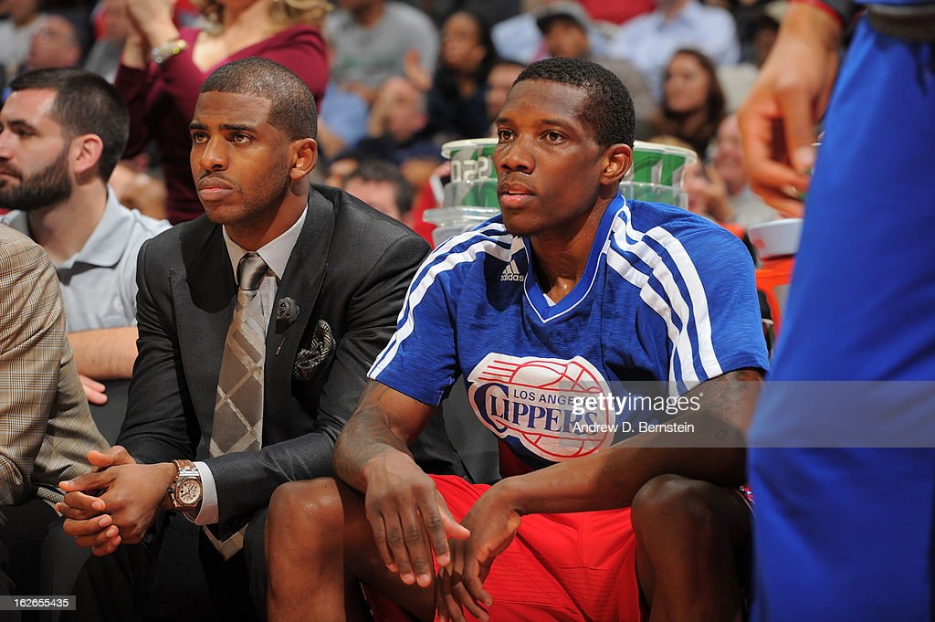 Chris Paul #3 and Jamal Crawford #11 of the Los Angeles Clippers sit on the bench during the game against the Washington Wizards on February 4, 2013 at the Verizon Center in Washington, DC.