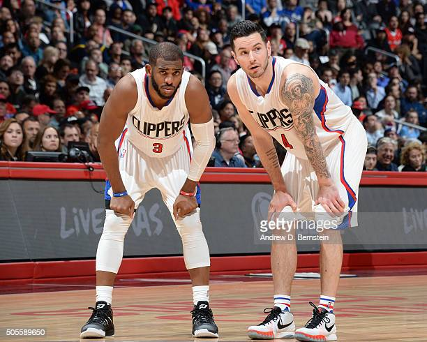 Chris Paul and JJ Redick of the Los Angeles Clippers during the game on January 18 2016 at STAPLES Center in Los Angeles California NOTE TO USER User...