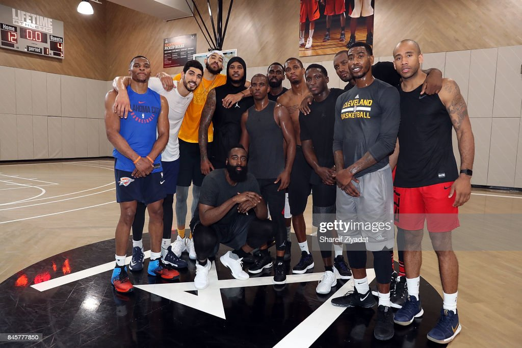 Chris Paul, Carmelo Anthony, Iman Shumpert, Dante Jones and James Harden attend Black Ops Basketball Session at Life Time Athletic At Sky on September 11, 2017 in New York City.