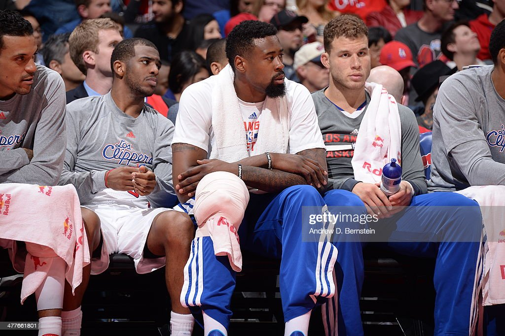 <a gi-track='captionPersonalityLinkClicked' href=/galleries/search?phrase=Chris+Paul&family=editorial&specificpeople=212762 ng-click='$event.stopPropagation()'>Chris Paul</a> #3, <a gi-track='captionPersonalityLinkClicked' href=/galleries/search?phrase=DeAndre+Jordan&family=editorial&specificpeople=4665718 ng-click='$event.stopPropagation()'>DeAndre Jordan</a> #6 and <a gi-track='captionPersonalityLinkClicked' href=/galleries/search?phrase=Blake+Griffin+-+Basketball+Player&family=editorial&specificpeople=4216010 ng-click='$event.stopPropagation()'>Blake Griffin</a> #32 of the Los Angeles Clippers sit on the bench against the New Orleans Pelicans at STAPLES Center on March 1, 2014 in Los Angeles, California.
