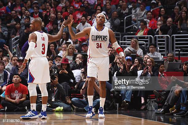 Chris Paul high fives teammate Paul Pierce of the Los Angeles Clippers during the game against the Brooklyn Nets on February 29 2016 at Staples...