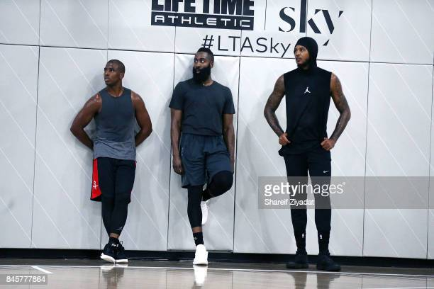 Chris Paul James Harden and Carmelo Anthony attend Black Ops Basketball Session at Life Time Athletic At Sky on September 11 2017 in New York City