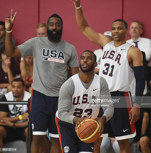 Chris Paul James Harden and Russell Westbrook of the USA National Team participate in a minicamp at UNLV on August 11 2015 in Las Vegas Nevada NOTE...