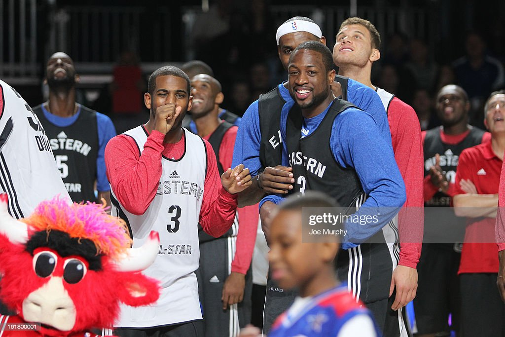 <a gi-track='captionPersonalityLinkClicked' href=/galleries/search?phrase=Chris+Paul&family=editorial&specificpeople=212762 ng-click='$event.stopPropagation()'>Chris Paul</a> #3 Los Angeles Clippers and <a gi-track='captionPersonalityLinkClicked' href=/galleries/search?phrase=Dwyane+Wade&family=editorial&specificpeople=201481 ng-click='$event.stopPropagation()'>Dwyane Wade</a> #3 of the Miami Heat during the NBA All-Star Practice in Sprint Arena during the 2013 NBA All-Star Weekend on February 16, 2013 at the George R. Brown Convention Center in Houston, Texas.