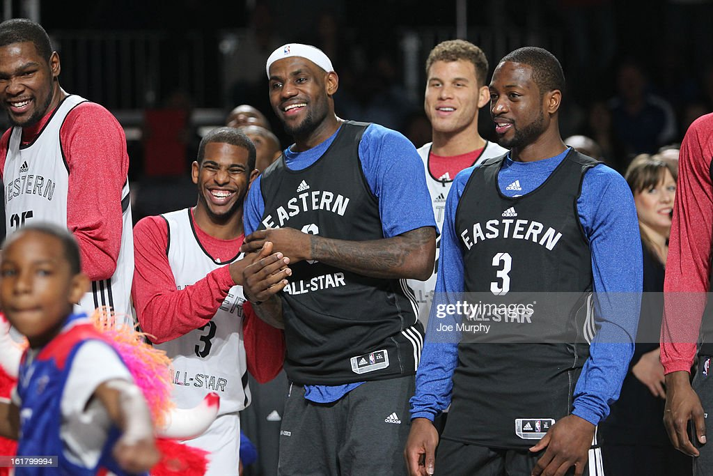 <a gi-track='captionPersonalityLinkClicked' href=/galleries/search?phrase=Chris+Paul&family=editorial&specificpeople=212762 ng-click='$event.stopPropagation()'>Chris Paul</a> #3 Los Angeles Clippers, <a gi-track='captionPersonalityLinkClicked' href=/galleries/search?phrase=LeBron+James&family=editorial&specificpeople=201474 ng-click='$event.stopPropagation()'>LeBron James</a> #6 and <a gi-track='captionPersonalityLinkClicked' href=/galleries/search?phrase=Dwyane+Wade&family=editorial&specificpeople=201481 ng-click='$event.stopPropagation()'>Dwyane Wade</a> #3 of the Miami Heat during the NBA All-Star Practice in Sprint Arena during the 2013 NBA All-Star Weekend on February 16, 2013 at the George R. Brown Convention Center in Houston, Texas.